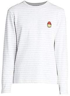 f9a0e76035 Ami Paris Men's Long Sleeve Striped Smile Patch T-Shirt
