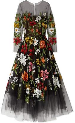 Oscar de la Renta Sequin-embellished Printed Tulle Gown - Black