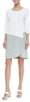 Joan Vass 3/4-Sleeve Colorblock Dress, White/Heather Gray, Plus Size