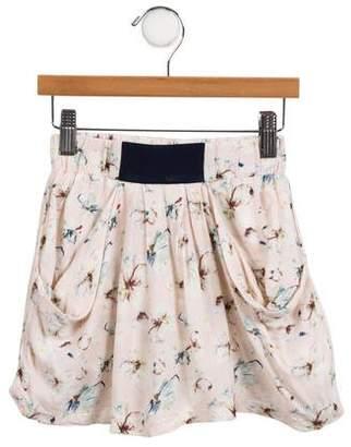 Christian Dior Girls' Floral Print Draped Skirt