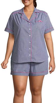 Liz Claiborne Short Sleeve Notch Collar Shorts Pajama Set-Plus