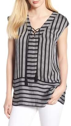 Chaus Shine Stripe Drawstring Top