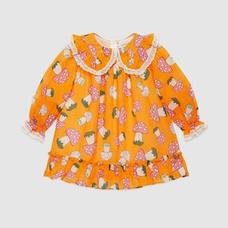 Gucci Baby dress with flower and mushrooms print