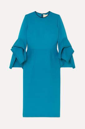 Roksanda Rhonda Ruffled Two-tone Cady Midi Dress - Blue