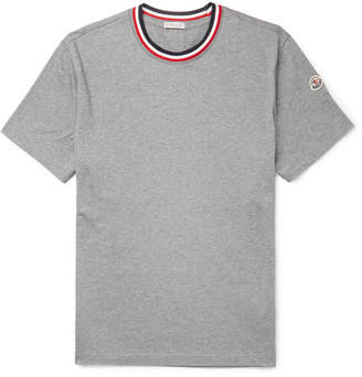 Moncler Webbing-Trimmed Mélange Cotton-Jersey T-Shirt