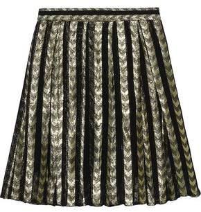 Dodo Bar Or Metallic Pleated Fil Coupe Organza Mini Skirt