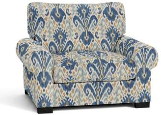 Pottery Barn Turner Roll Arm Upholstered Armchair - Print and Pattern