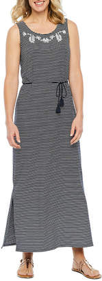 ST. JOHN'S BAY Sleeveless Embroidered Striped Maxi Dress