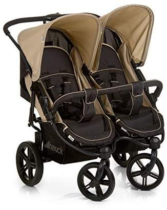 Hauck Roadster Duo SLX, Side by Side Double Pushchair from Birth to 2 x 15 kg, Combinable with 2 in 1 Carrycot for New-Borns, Easy Folding, Black/Beige