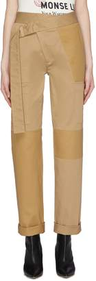 Monse Asymmetric belted patchwork cargo pants