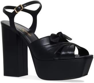 Saint Laurent Leather Farrah Bow Sandals 125