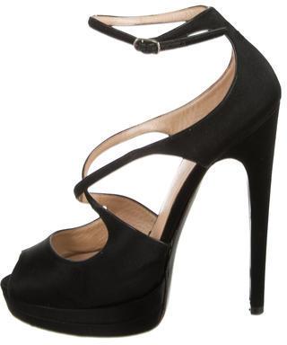 Casadei Satin Platform Sandals $110 thestylecure.com