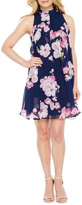 Robbie Bee Sleeveless Floral A-Line Dress-Petite