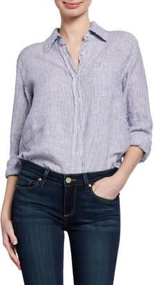 Allen Allen Striped Button-Down Linen Shirt