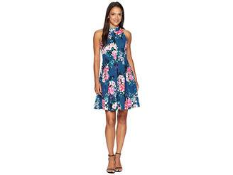 Vince Camuto Printed High Neck Fit and Flare with Racerback