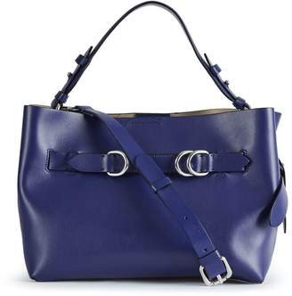 Reiss Bleecker Mini - Structured Leather Tote Bag in Blue