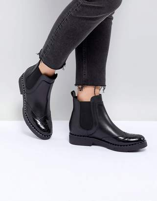Dune London Quark Black Leather Studded Chelsea Boots