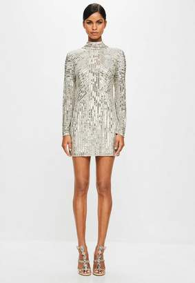 Missguided Gold High Neck Sequin Dress