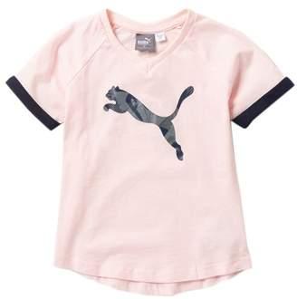 Puma Raglan V-Neck Short Sleeve Tee (Little Girls)