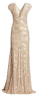 Pamella Roland Women's Sequin& Crystal Georgette V-Neck Gown - Gold - Size 12