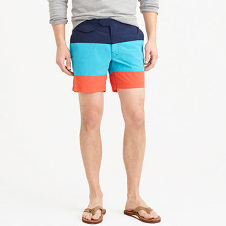 "6.5"" Tab Swim Short In Blue Colorblock $75 thestylecure.com"