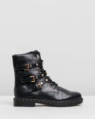 Missguided Triple Strap Embellish Hiker Boots