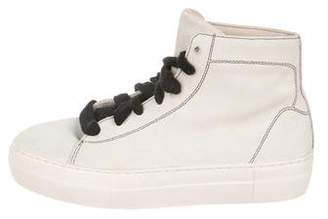 Helmut Lang High-Top Suede Sneakers