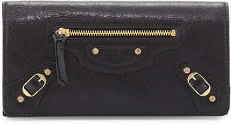 Balenciaga Classic Gold Money Wallet, Black (Noir)