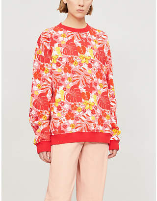 Benetton Tropical floral-print cotton-blend sweatshirt