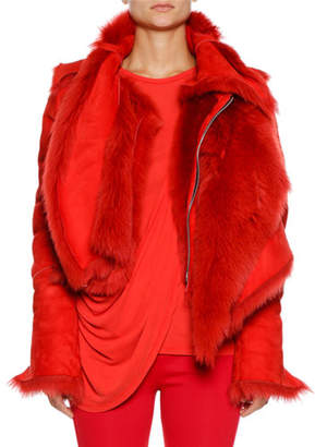 Unravel Deconstructed Asymmetric Shearling Coat