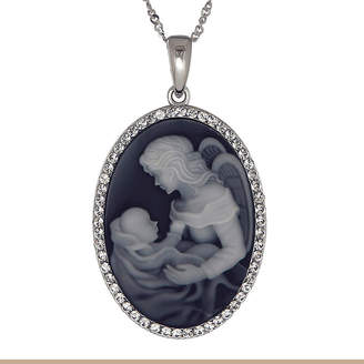FINE JEWELRY Crystal Accent Black Angel Mom & Baby Sterling Silver Cameo Pendant