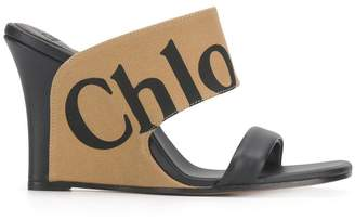 Chloé logo wedge sandals