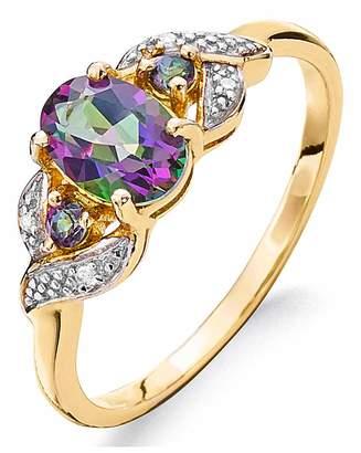 Fashion World 9ct Gold Mystic Topaz & Diamond Ring
