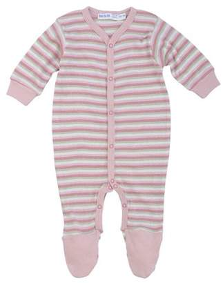 Under the Nile Organic Cotton Footie - Pink Stripes nb-3m