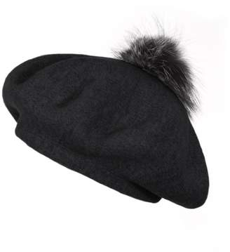 Popski London Bella Beret Fur Pom Pom Hat Black With Silver Fox Fur Pom Pom