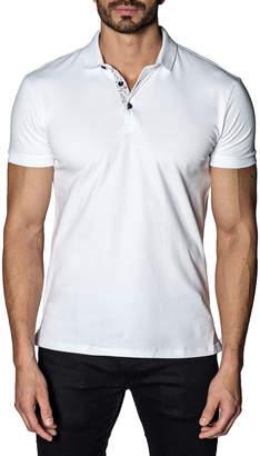 Jared Lang Line-Dot Revers Pique Polo Shirt