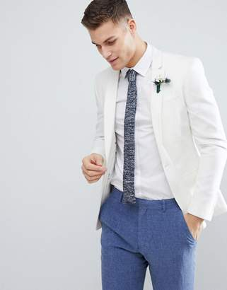 Asos Design DESIGN Super Skinny Blazer In White Linen