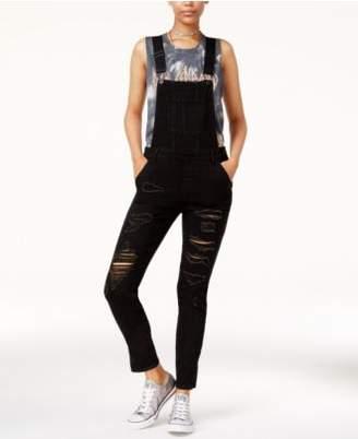 Dollhouse Juniors' Ripped Split-Leg Denim Overalls