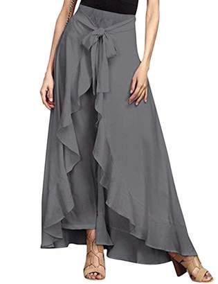 SEBOWEL Women's Plain Ruffle Wide Leg Tie-Waist Long Palazzo Overlay Pant Skirts