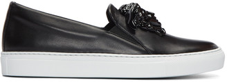 Versace Black Leather Medusa Slip-On Sneakers $995 thestylecure.com