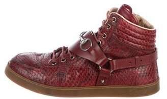 Gucci Horsebit Snakeskin Sneakers