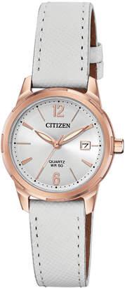 Citizen Women Quartz White Leather Strap Watch 28mm