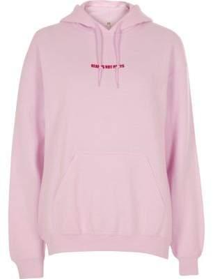 River Island Pink Pride 'hearts not parts' print hoodie