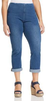 Lysse Plus Pull-On Boyfriend Jeans in Mid Wash