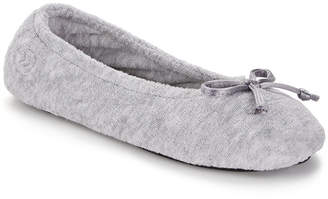 Isotoner Signature Terry Ballet Flat Slippers with Satin Bow
