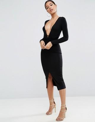 ASOS Deep Plunge Wrap Ties Midi Dress $38 thestylecure.com