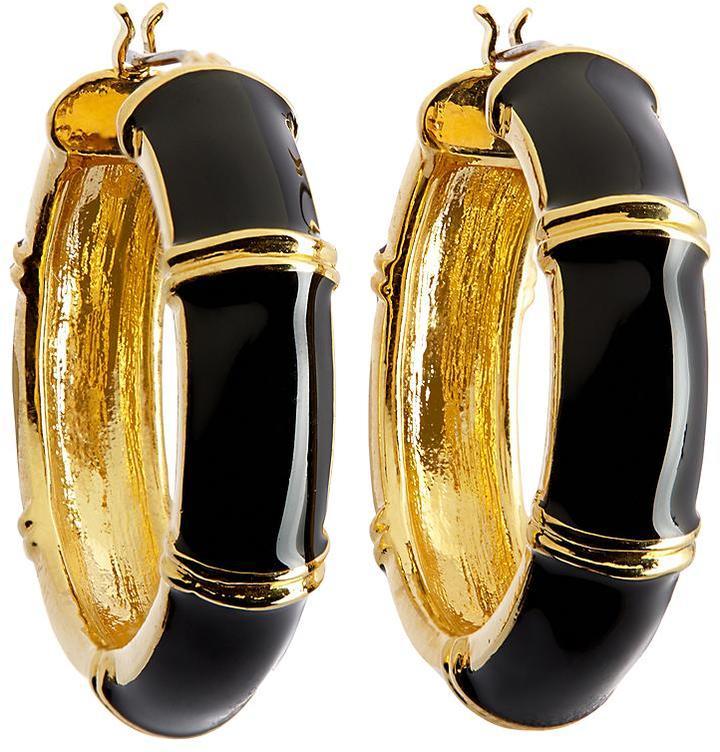 Brooks Brothers Gold and Black Medium Hoop Earrings