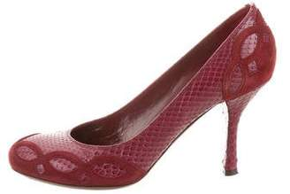 John Galliano Snakeskin Suede-Trimmed Pumps