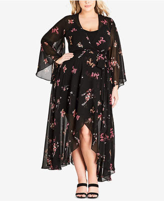 City Chic Trendy Plus Size Bell-Sleeve Wrap Maxi Dress