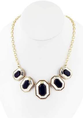 Barse Bronze & Sterling Silver Bezel Set Black Onyx Stacked Geo Pendant Necklace